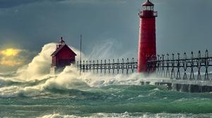 Lighthouse Michigan Ocean Sea Wave 2560x1700 Wallpaper