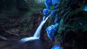 Blue Blue Flower Earth Hydrangea Rock Waterfall 1920x1200 Wallpaper