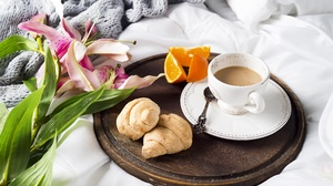 Coffee Cup Flower Romantic Croissant Still Life 6016x4016 Wallpaper