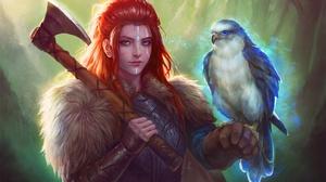 Girl Bird Falcon Axe Woman Warrior Red Hair 1920x1280 Wallpaper