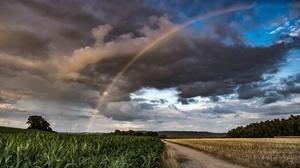 Cloud Field Nature Rainbow 2048x1365 Wallpaper