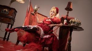 Asian Blonde Lolita Chair Retro Theme Red Wine Shika XiaoLu 4032x2688 wallpaper