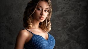 Sergey Tomashev Women Brunette Curly Hair Shoulder Length Hair Dots Makeup Looking At Viewer Blue Cl 1920x1282 Wallpaper