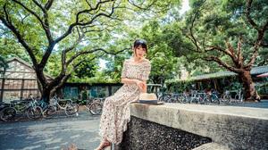 Asian Model Women Women Outdoors Long Hair Dark Hair Trees Flower Dress Bare Shoulders Ponytail Stra 2560x1707 Wallpaper