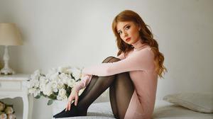 Model Women Red Lipstick Sitting Pink Dress Women Indoors Flowers 2880x1800 Wallpaper