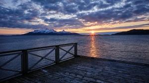 Cloud Mountain Norway Sea Sunset 6028x4018 Wallpaper
