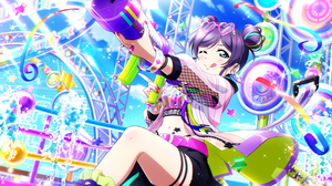 Love Live Love Live Series Toujou Nozomi Anime Girls Anime Colorful Painted Nails Pink Nails One Eye 3600x1800 Wallpaper