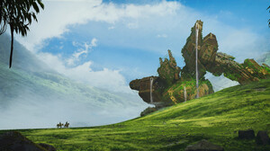 Fantasy Art Artwork Digital Art Mountains Giant Nature Sky 2000x904 Wallpaper