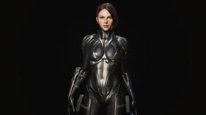 3D CGi Render Women Science Fiction Science Fiction Women Simple Background Standing 1920x1080 Wallpaper