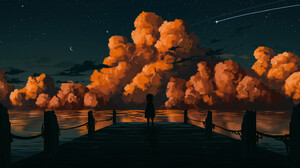 Gavryl ArtStation Sky Starry Night Dark Stars Pier Outdoors Standing Star Trails Water Clouds 1920x832 Wallpaper