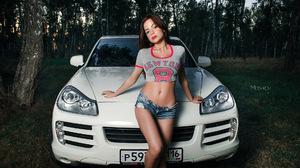 Women With Cars Crop Top Bare Midriff Porsche Porsche Cayenne 1920x1080 Wallpaper