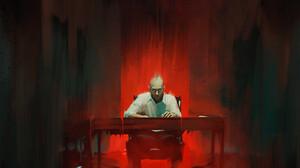 Col Price Sitting Devil Digital Art Table Pointed Ears Demon Drawing Artwork ArtStation 3000x1251 Wallpaper