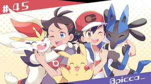 Ash Ketchum Black Hair Blue Eyes Boy Brown Eyes Cap Cinderace Pokemon Go Pokemon Hug Lucario Pokemon 2034x1260 Wallpaper