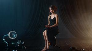 Women Model Brunette Long Hair Black Dress Barefoot Gramophone Vinyl Sitting Chair Curtains Legs Mak 1920x1200 Wallpaper