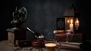 Still Life Cup Coffee Food Candles Coffee Grinder Coffee Beans Books Lantern Wax 2048x1365 Wallpaper