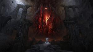 Artem Demura Dark Digital Art Fantasy Art Balrog Gandalf Fan Art The Lord Of The Rings 1920x960 Wallpaper