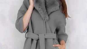 Brunette Women Long Hair Model Grey Coat Coats Hands In Pockets Standing Looking At Viewer Makeup 853x1280 Wallpaper