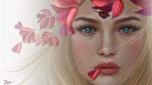 Blonde Blue Eyes Face Fall Fantasy Girl Leaf Woman 2048x1204 Wallpaper