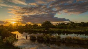River Water Plants Sunset Clouds Sky Blue Nature Landscape 2560x1440 wallpaper