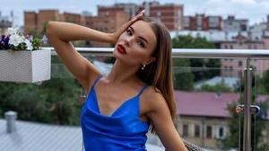 Oleg Klimin Women Kristina Borisova Brunette Long Hair Straight Hair Hand On Head Long Nails Looking 1440x2160 Wallpaper