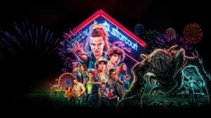 Stranger Things TV Series Netflix Fireworks Creature Shopping Mall Retro Style Ferris Wheel Neon Sig 2560x1440 Wallpaper