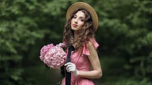 Women Women Outdoors Model Hat Straw Hat Women With Hats Flowers Plants Makeup Brunette Dress Pink D 1920x1280 Wallpaper