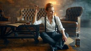 Alcohol Blonde Cigar Girl Model Woman 1920x1282 Wallpaper