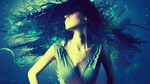 Abstract Blue Dance Girl Music Trance 1920x1200 Wallpaper