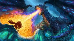 Yuliya Zabelina Digital Art Fantasy Art Dragon Ice Fire 1920x853 Wallpaper
