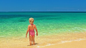 Girl Little Girl Ocean Turquoise Tropical Horizon 5616x3744 Wallpaper