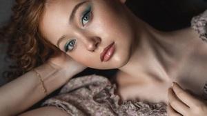 Vladimir Vasilev Women Brunette Looking At Viewer Eyeshadow Makeup Lipstick Lip Gloss Resting Head H 1440x2160 Wallpaper