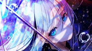 Anime Anime Girls Artwork Digital Art White Hair Long Hair Bangs Blue Eyes School Uniform Rain Walki 1600x1200 Wallpaper