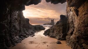 Beach Cave Earth Horizon Ocean Rock Sea 2048x1451 wallpaper