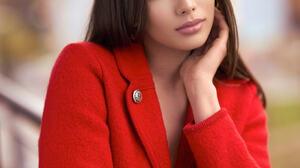 Wieslaw Andrzejewski Women Brunette Looking At Viewer Coats Red Clothing Depth Of Field 1638x2048 Wallpaper