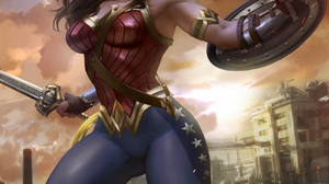Wonder Woman Superheroines Gal Gadot Tiaras Armlet Shield Sword Weapon Clouds Drawing Digital Art Il 3171x3543 wallpaper