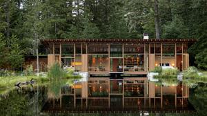 Architecture Modern House Cabin Lake Pond 2000x1333 Wallpaper