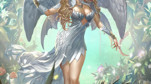 Donfoo Drawing Women Angel Blonde Wings Dress White Clothing Plants Rose Dragon Legend Of The Crypti 1200x1672 Wallpaper