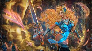Taisa Kislova Fantasy Art Digital Art Sword Blonde Feathers 1920x1045 Wallpaper
