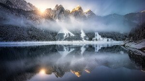 Alps Austria Fog Forest Gosausee Lake Mountain Reflection Winter 2048x1466 Wallpaper