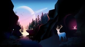Saturn Landscape Firewatch Deer Pine Trees 5160x2160 Wallpaper