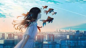 Anime Anime Girls Sky Clouds Fish Brunette Closed Eyes Long Hair City Dress 1524x1025 Wallpaper