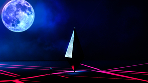 Moon Triangle Abstract Blue Red Pink Reflection 3000x2000 Wallpaper