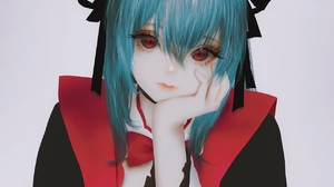 Anime Anime Girls Simple Background Aoi Ogata Original Characters Blue Hair Red Eyes Vertical 1260x1575 Wallpaper