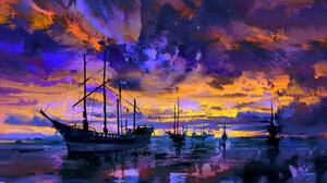 Artwork Sea Clouds Sunset Ship Sailing Ship Eric Elwell 1600x1070 Wallpaper