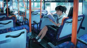 Anime Anime Girls Buses Reading Black Hair Sailor Uniform White Socks Brown Eyes Skirt Kotatiyu Pony 3000x1700 Wallpaper