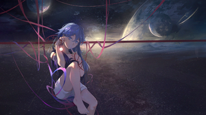Anime Anime Girls Space Stars Planet Ribbons Blue Hair Long Hair Blue Eyes Mountains Looking At View 1973x1125 Wallpaper