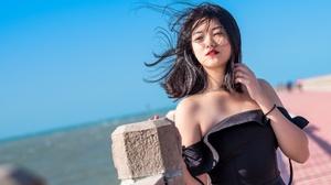 Asian Black Dress Black Hair Depth Of Field Girl Lipstick Model Woman 4000x2667 Wallpaper