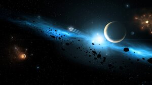Explosion Planet Space Stars 6208x2516 wallpaper
