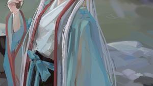 Anime Girls Anime FKEY Artwork Silver Hair Green Eyes Japanese Clothes 1000x1415 Wallpaper