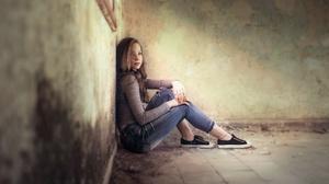Women Model Indoors Women Indoors Sitting Abandoned Looking At Viewer Brunette Jeans Sneakers 3840x2160 Wallpaper